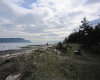 Ocean view from park bench on Denman Island at Fillongley Provincial Park